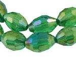 Electroplate Glass Beads Oval Rice Shape with AB plate - 4x6mm (35 beads) - green